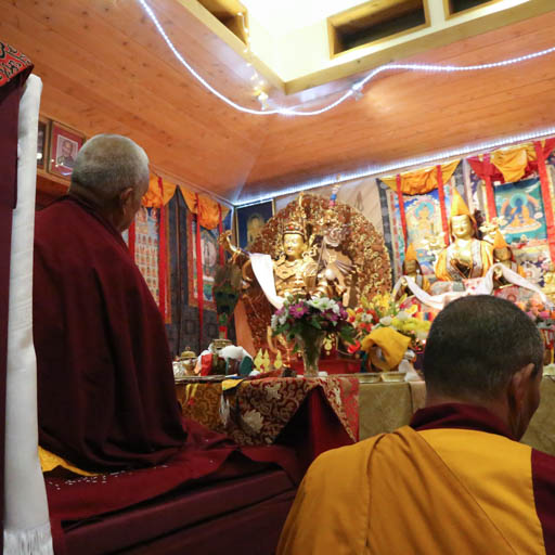 Lama Zopa Rinpoche consecrating a Guru Rinpoche statue at Chandrakirti Centre, New Zealand, May 2015. Photo by Ven. Thubten Kunsang.