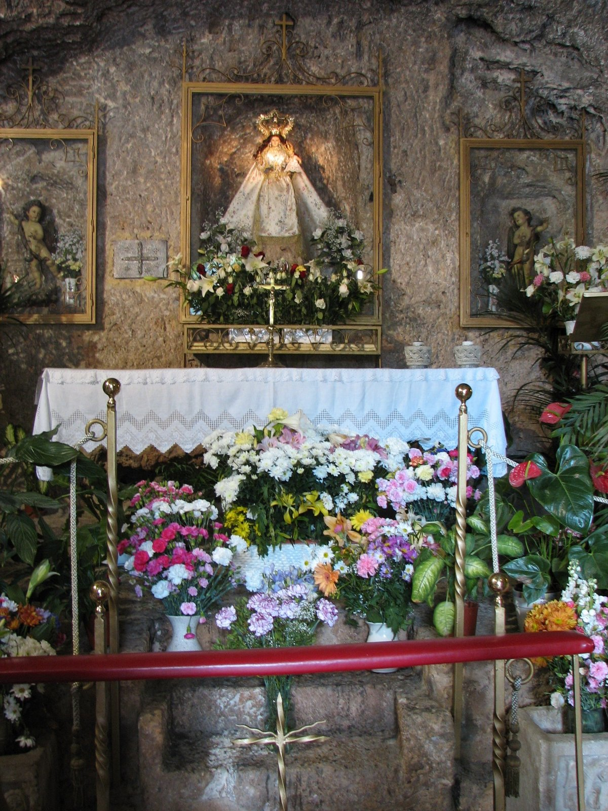 Santuario de la Virgen de la Pena, a tribute to the patron saint of Mijas carved out of pure rock. The shrine dates back to 1586 when an image of the Virgin Mary miraculously manifested there.