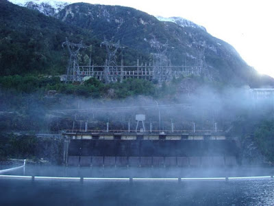 West Arm, Lake Manapouri and the only above ground part of the huge Manapouri Power Station