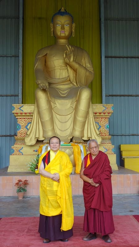 Tai Situ Rinopche and Lama Zopa Rinpoche in front of the 24-foot (7-meter) Maitreya Buddha statue, Bodhgaya, India, March 2014. Photo by Ven. Roger Kunsang.