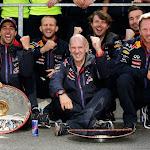 Celebration of Daniel Ricciardo, Adrian Newey and team principal Christian Horner