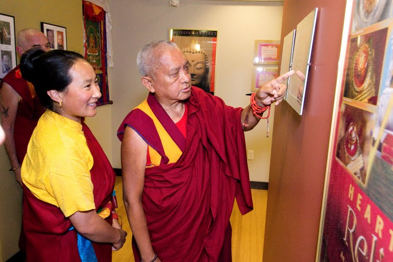 Lama Zopa Rinpoche and Rangjung Neljorma Khandro Namsel Drolma at FPMT International Office, Portland June 2012