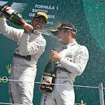 Lewis Hamilton gives Nico Rosberg a champagne shower