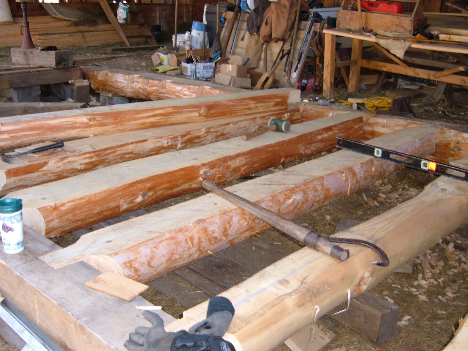 All wood in this new floor system came from the owners woodlot.