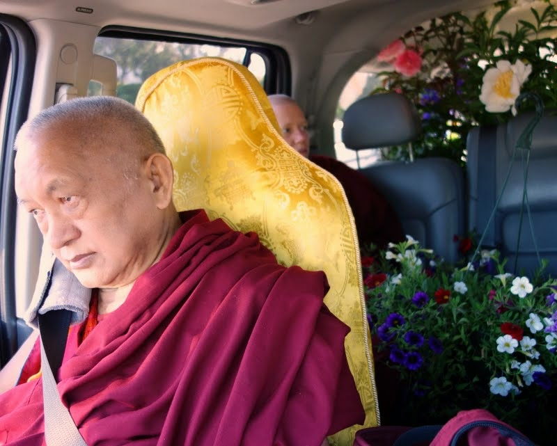 Lama Zopa Rinpoche returning to Kachoe Dechen Ling after shopping for flower offerings, Aptos, California, US, May 2014. Photo by Ven. Roger Kunsang.