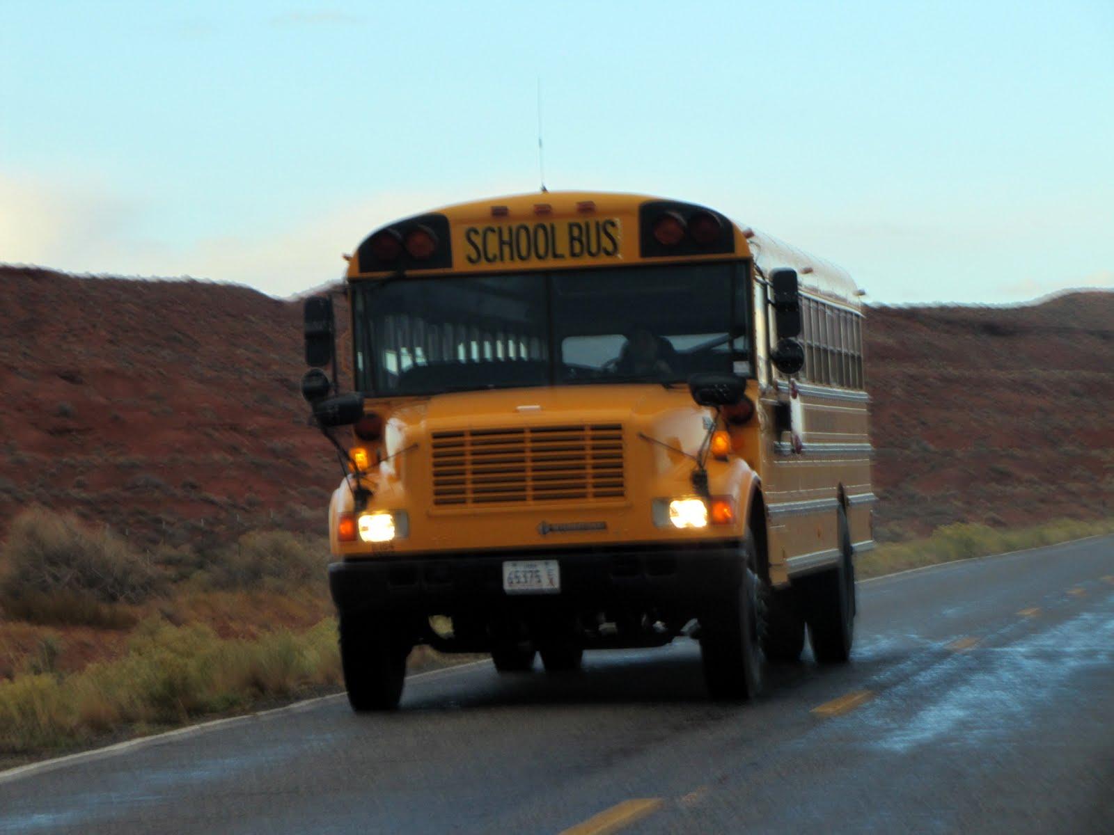 School bus in Monument Valley, Arizona, 1999 International Bluebird