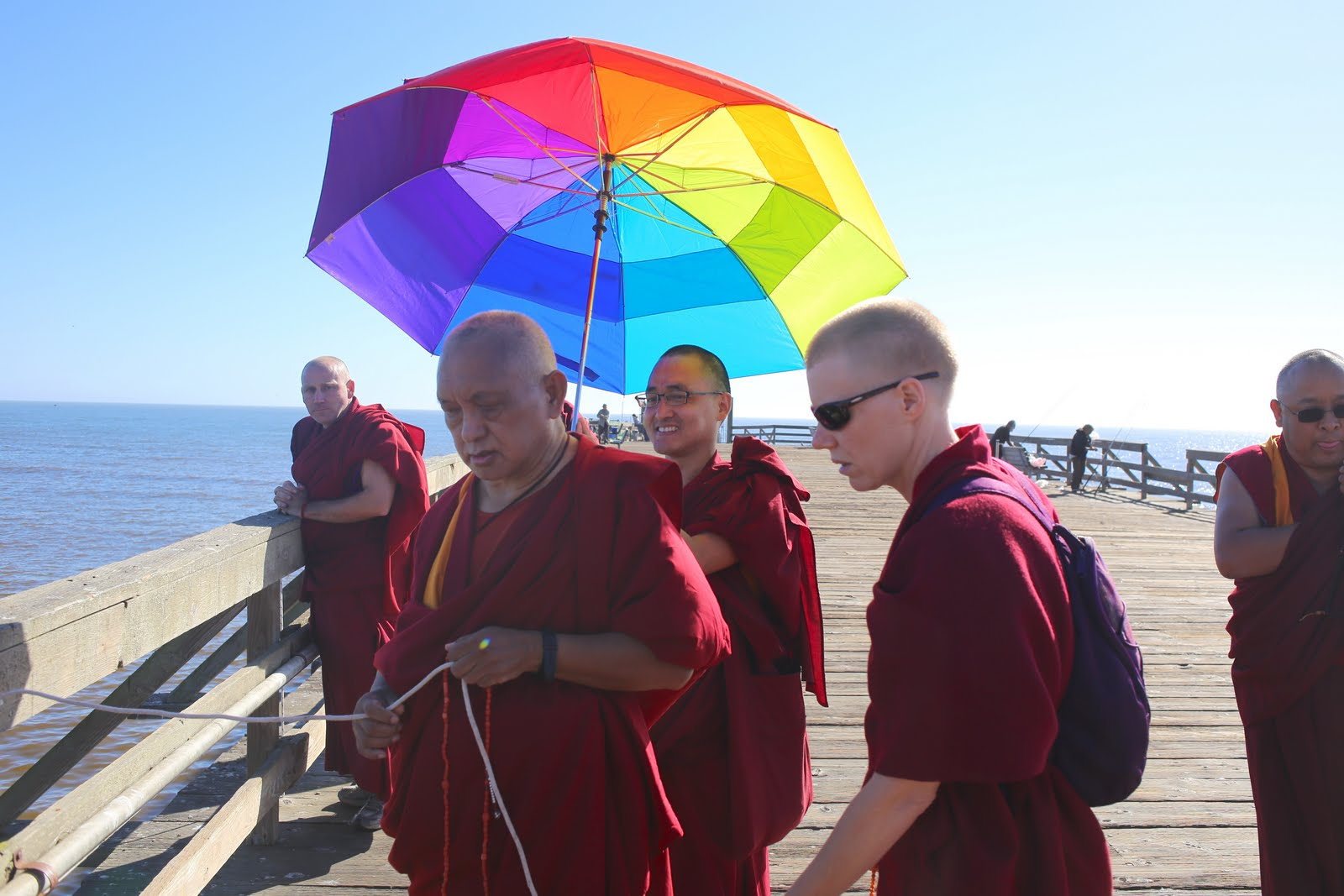 Rinpoche and  Sangha blessing beings in the ocean. California, September 2013.