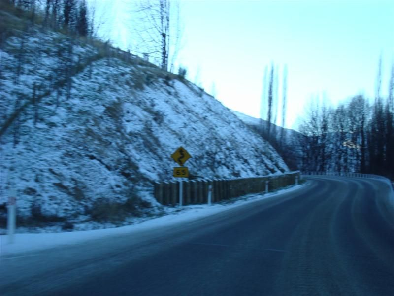 Some road level snow between Queenstown and Arrowtown