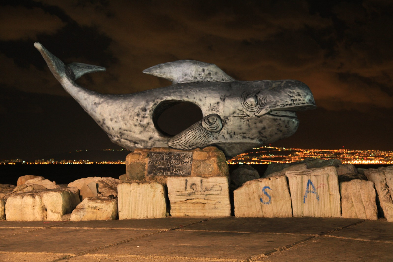 A fish with a hole with Haifa in the background, very prosaic description :-)