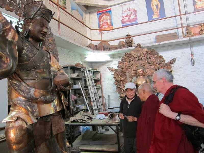 Sangay and Lama Zopa Rinpoche checking on the progress of the Padmasambhava statues for Lawudo