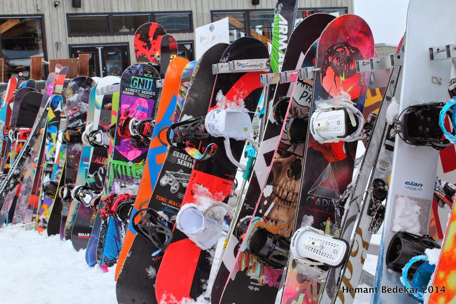 Snowboards on Whistler Mountain