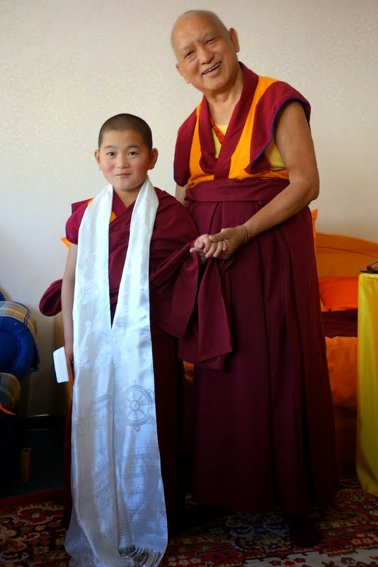 Lama Zopa Rinpoche with the young Mongolia rinpoche Jamyang Kharpo Rinpoche, the 22nd incarnation of White Manjushri, Mongolia, August 2014. Photo by Ven. Roger Kunsang.