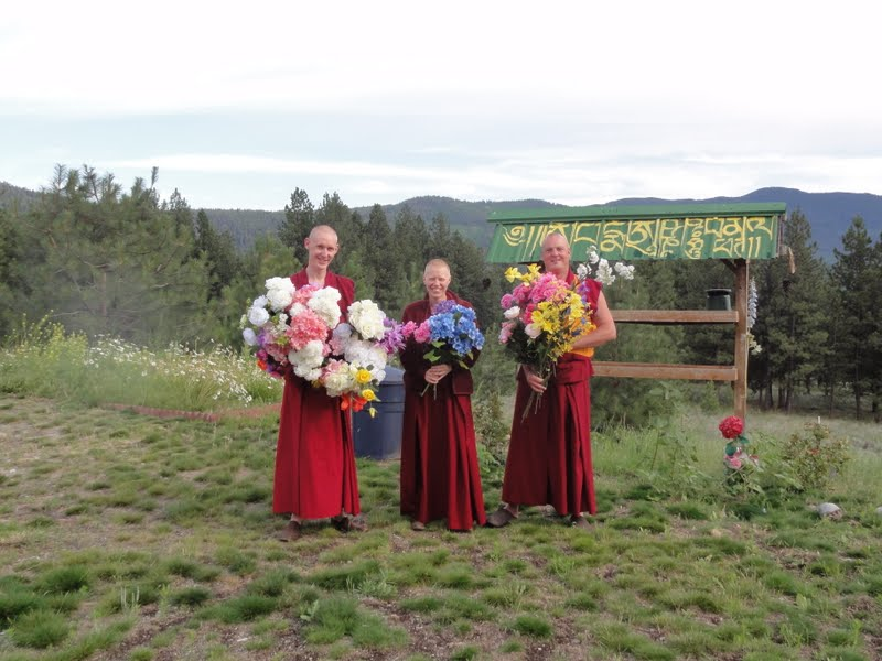 Sangha with flower offerings in front of the bird feeder with mantras