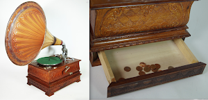 Антикварный граммофон  работает от приема монет. 19-й век.