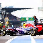 Sebastian Vettel drives in pit