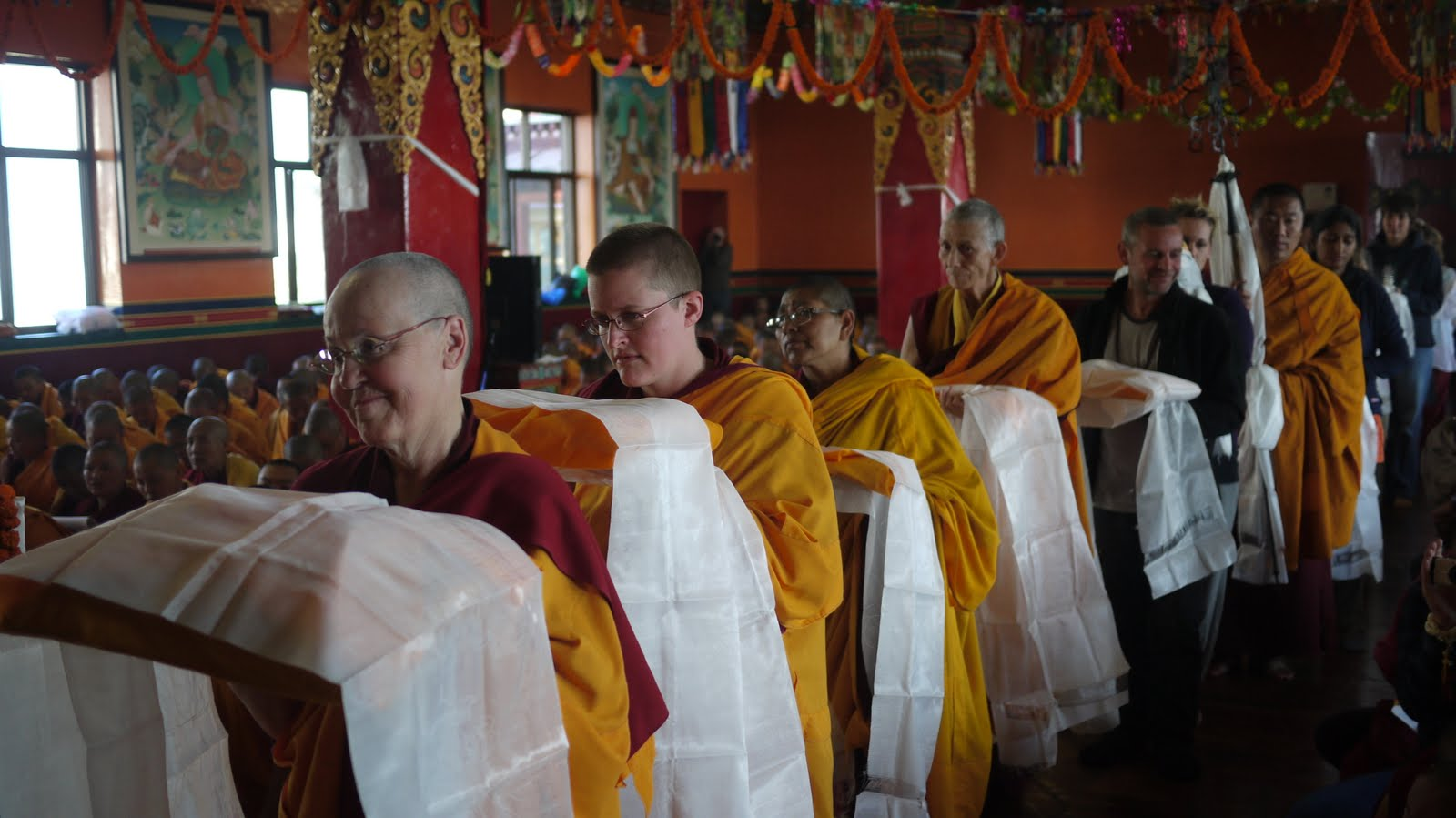 Sangha during long life puja at Kopan Monastery Dec 2010.