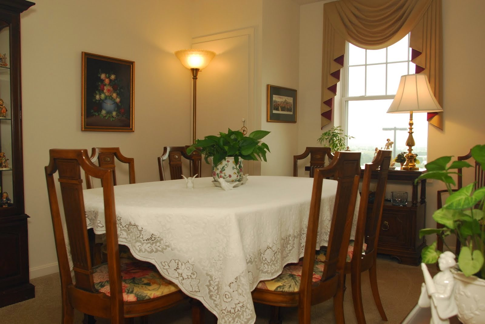 Here one of the bedrooms is used as a formal dining room in one of the Crest View apartments