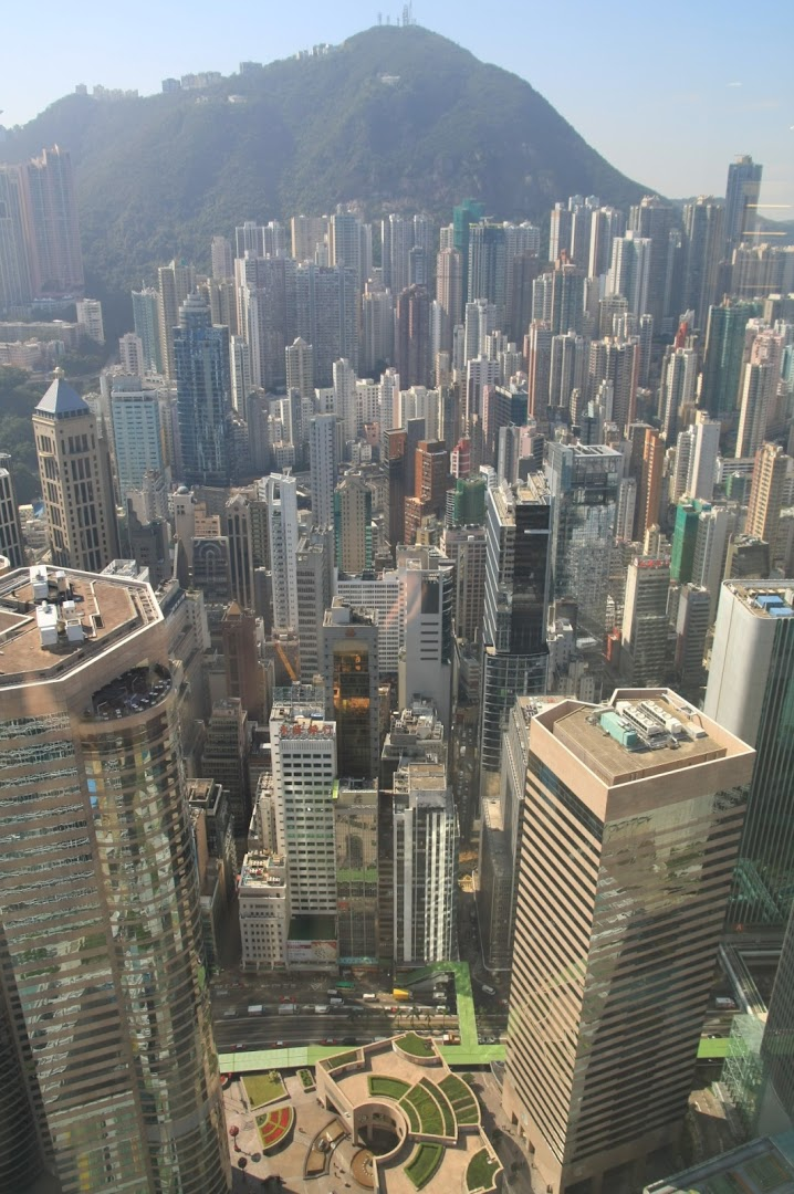 View from the 50th floor (in the middle) of IFC to the Victoria Peak
