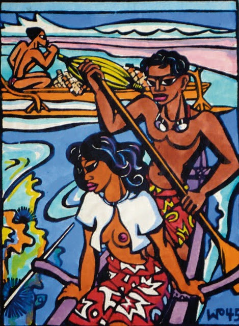 Boating, hand colored block print, 1945