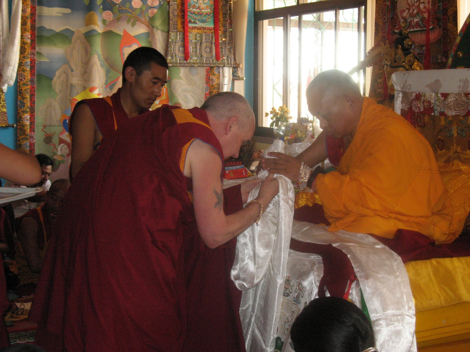 Ven. Roger Kunsang offering to Lama Zopa Rinpoche during special long life puja, Kopan Monastery, June 2009.