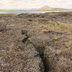 A crack in lava field