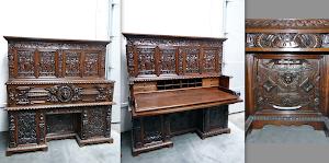 Большой антикварный кабинет 1614 г. Выполнен из дуба. Дверки, выдвижные ящики, встроенный интерьер для письма.