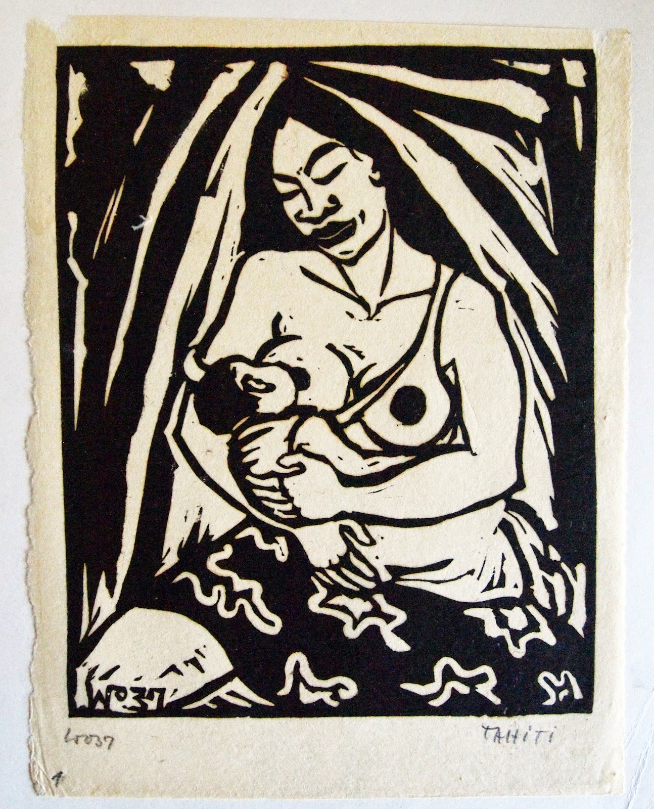 Breastfeeding Woman, hand print, 1937, family-owned