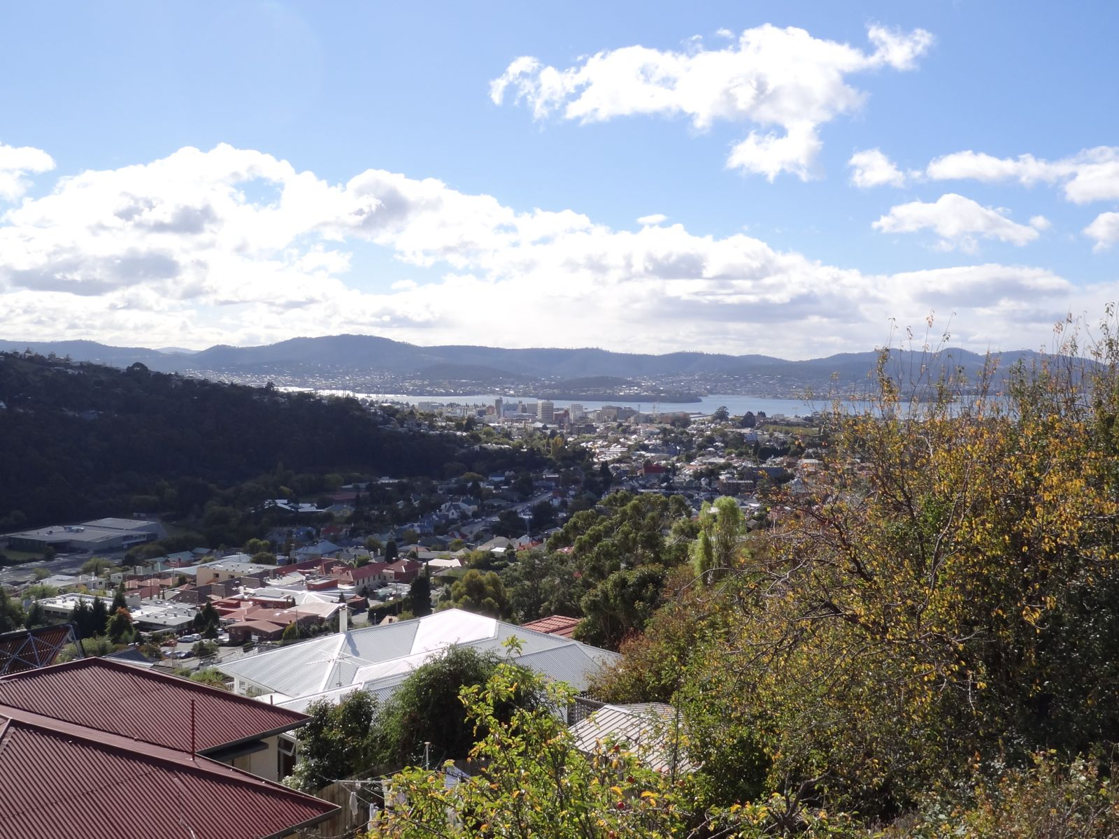 Almost back into the city. Hobart downtown and Bellerive on the far shore