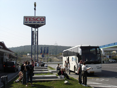 "Lunch break outside Brataslava. The only ""safe"" place to stop was Tesco!"