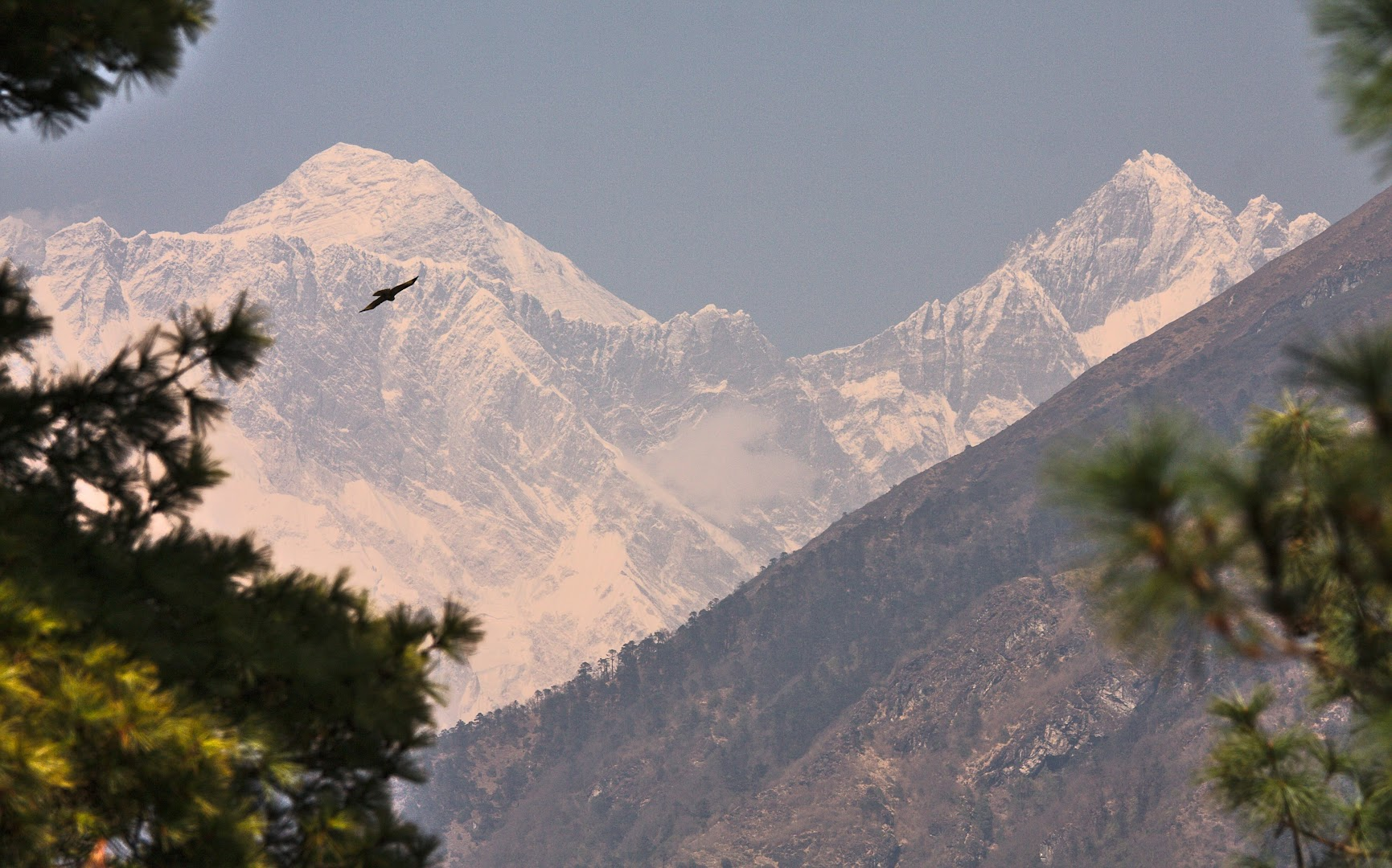 The first glimpse of Everest