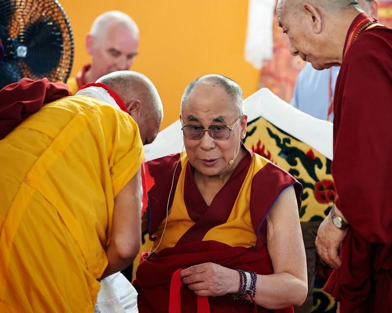 His Holiness the Dalai Lama with Lama Zopa Rinpoche, Pomaia, Italy, June 13, 2014. Photo by Olivier Adam.