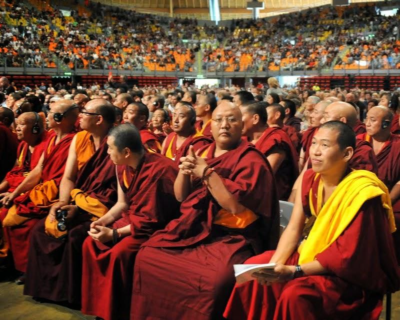 Sangha at public talk of His Holiness the Dalai Lama, Livorno, Italy, June 15, 2014. Photo by Sirianni.