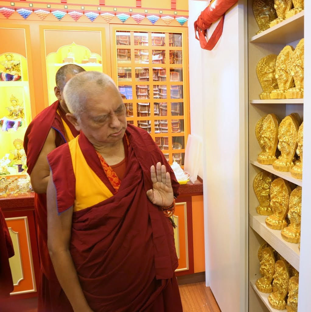 Lama Zopa Rinpoche at Jinsiu Farlin, Taipei, Taiwan, April 2014. Photo by Ven. Thubten Kunsang.