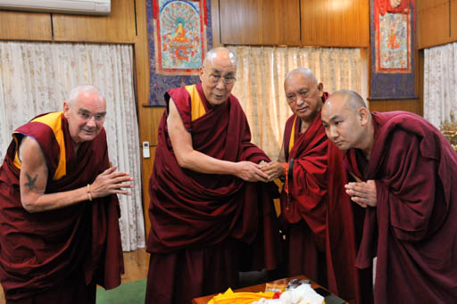 His Holiness the Dalai Lama with Lama Zopa Rinpoche, Ven. Roger Kunsang and Ven. Thubten Tendar, Dharamsala, India, March 30, 2015. Photo courtesy of the Office of His Holiness the Dalai Lama.