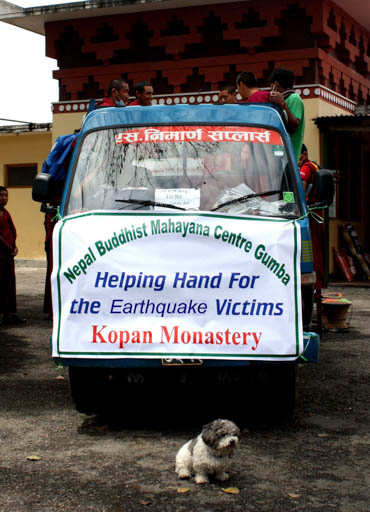 Kopan Monastery's Helping Hands truck preparing to distribute aid to earthquake victims, Nepal, April 2015