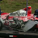 Crashed Michael Schumacher Ferrari F2004