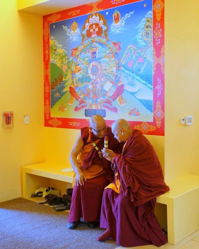 Jangste Chöje and Lama Zopa Rinpoche awaiting Geshe Sopa Rinpoche to escort him into the gompa for a long life puja, Deer Park Buddhist Center, Oregon, Wisconsin, US, July 20, 2014. Photo by Ven. Roger Kunsang.
