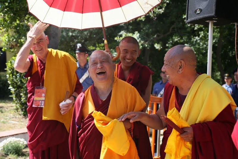 Waiting for His Holiness the Dalai Lama to arrive, Istituto Lama Tzong Khapa, Pomaia, Italy, June 10, 2014. Photo by Ven. Thubten Kunsang.