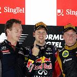 Kimi Raikkonen, Lotus F1 celebrates on the podium with Fernando Alonso, Ferrari, Sebastian Vettel, Red Bull Racing and Christian Horner, Team Principal, Red Bull Racing