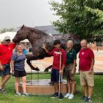 Dan, Addie, Gene, Karen and Chris at the Iron Horse sculpture, Cheyenne ride