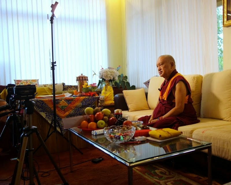 Lama Zopa Rinpoche explaining in a video interview the path to enlightenment and how fortunate all are, Osel Labrang, Sera Je Monastery, India, January 2014. Photo by Ven. Roger Kunsang.