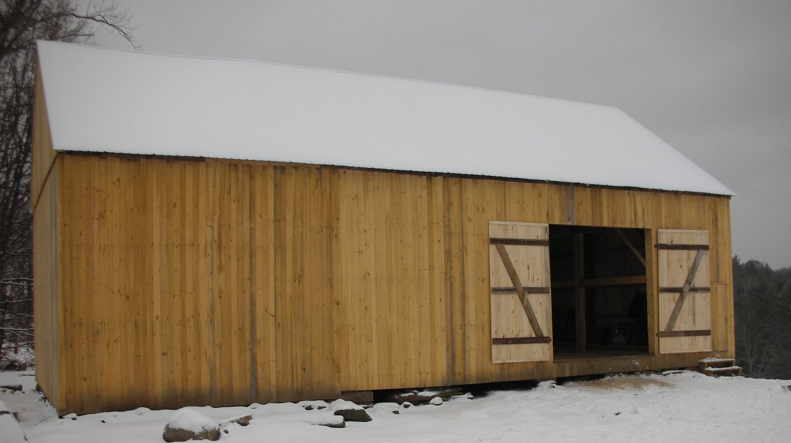 Here is the eave wall with the addition removed.