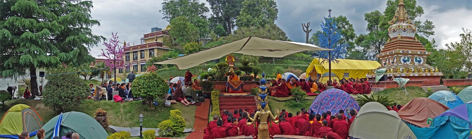Tents around the stupa at Kopan Monastery the day after the earthquake struck.