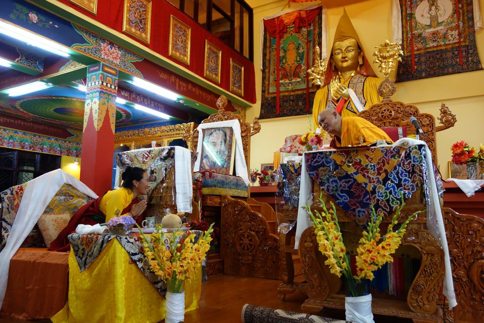 AttheendoftheLamaChopa, June 4, 2013, RinpochewasrequestingKhadro-latogiveashorttalkinTushitagompaMcloedGanj.Photo. Ven. RogerKunsang.