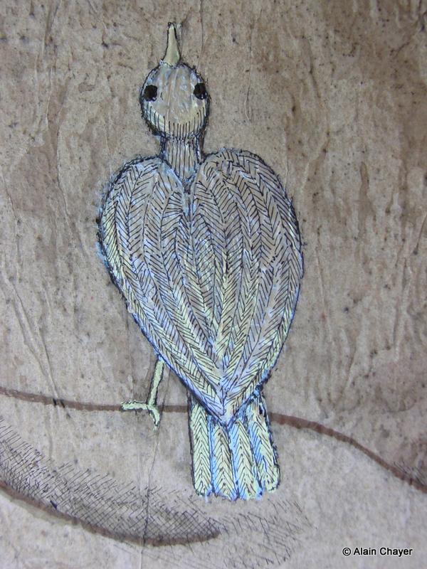 177.1 - Oiseau Nacré (Zoom Détail) - 2007 46 x 38 - Acrylique, Sable et encre de Chine sur toile