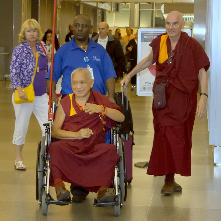 Lama Zopa Rinpoche and Ven. Roger Kunsang arriving in North Carolina, US, April 30, 2014. Photo by David Strevel.