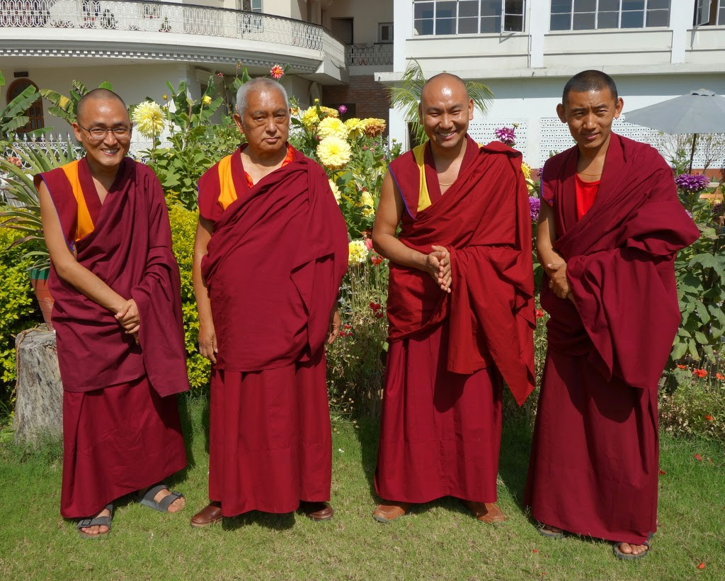 Lama Zopa Rinpoche with his attendants, (from left) Ven. Sherab, Ven. Tendar and Ven. Sangpo, Sarnath, India, March 2014. Photo by Ven. Roger Kunsang.