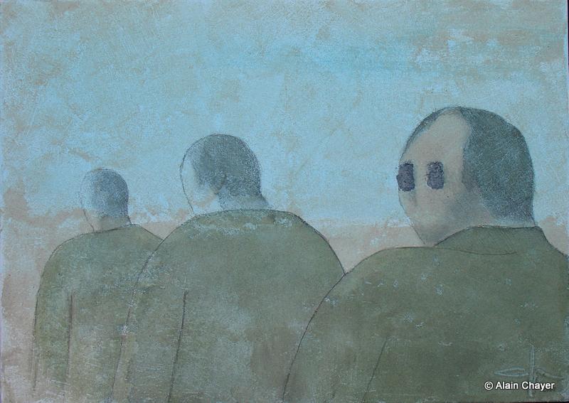 174 - Les Trois Fils - 2007 50 x 70 - Sable et aquarelle sur toile