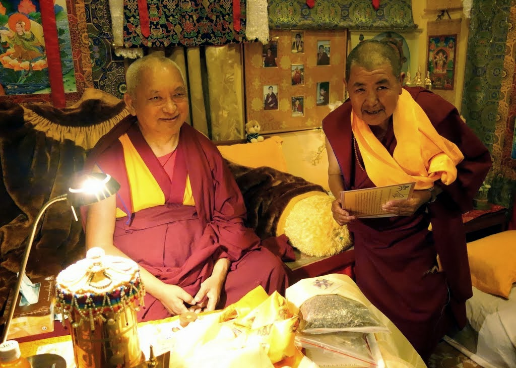 Lama Zopa Rinpoche with his older sister Ani Ngawang Samten, who had just come down from Lawudo Gompa and Retreat Centre, which she looks after, Kopan Monastery, Nepal, December 4, 2013.