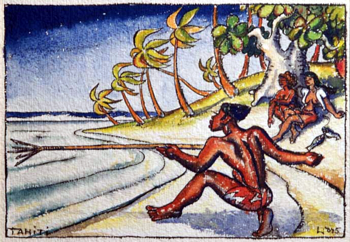 Tahitian spear fisherman, aquarelle, 1945